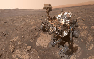 The Curiosity rover took this self-portrait on Mars that includes its MMRTG electrical power source (the white cylinder with radiator fins, at the rear of the rover). NASA/JPL-Caltech/MSSS photo.