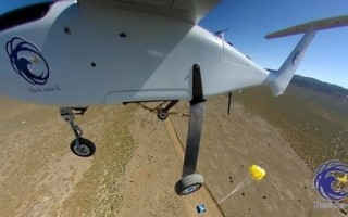 Emergency package drop from UAS during NASA UTM test. Image courtesy of Drone America/Nevada Institute for Autonomous Systems.