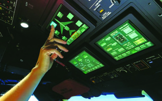 Overhead touch screen display solution for the cockpit