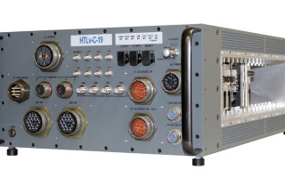 Front panel view of hybrid High Performance Embedded Compute (HPEC) Chassis from HTL which can be configured with the VPX3U-RTX5000-SWITCH from WOLF. WOLF photo.