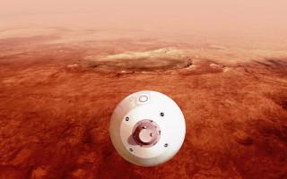 Illustration: The aeroshell containing NASA's Perseverance rover guides itself towards the Martian surface. NASA/JPL-CalTech