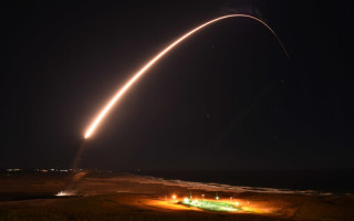 An unarmed Air Force ICBM launches during a test in California. DoD image.
