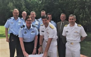 U.S. Navy and Royal Australian Air Force (RAAF) leaders recently signed a memorandum of understanding (MOU) to cooperatively mature the AN/ALQ-249 Next Generation Jammer Mid-band (NGJ-MB) capability from here forward. U.S. Navy photo.