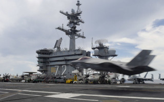 F-35C Lightning II aircraft undergoes testing on carrier USS Abraham Lincoln