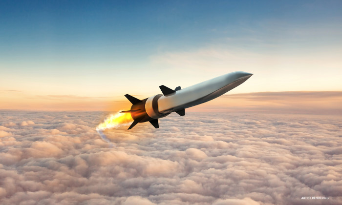 An artist's rendering of a hypersonic missile: Courtesy of Raytheon.